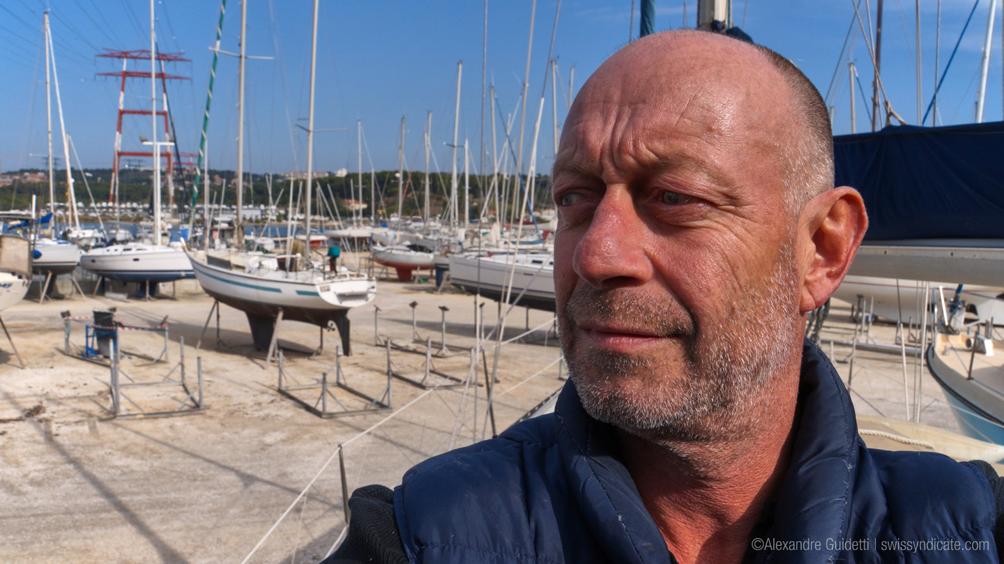 Sailor Alex in boat yard shooting Winded Voyage Trailer