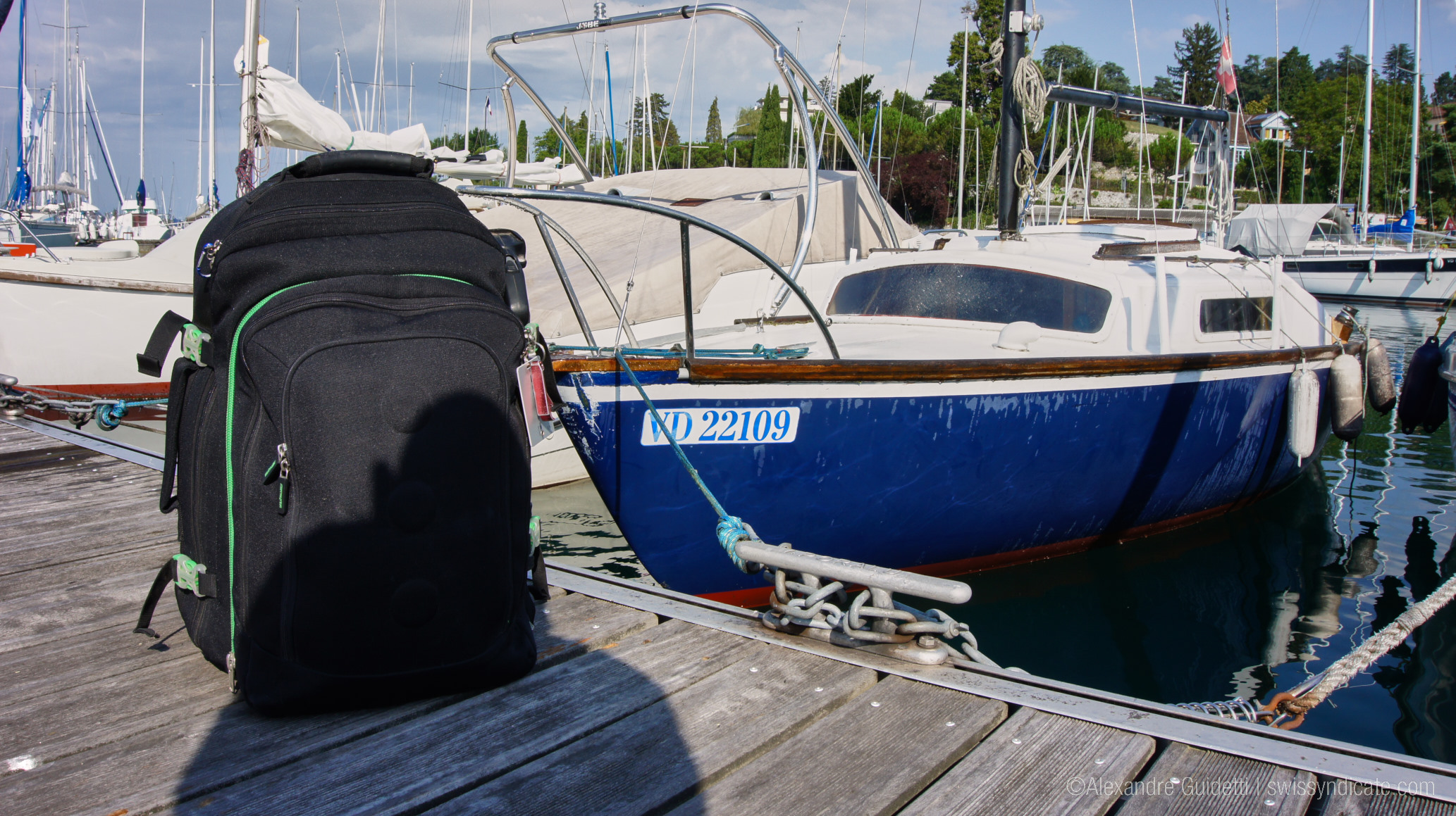 Suitcase and boat ready for Winded Voyage