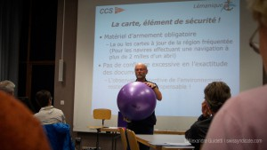 The intellectual sailor learns about latitude and longitude using a yoga ball