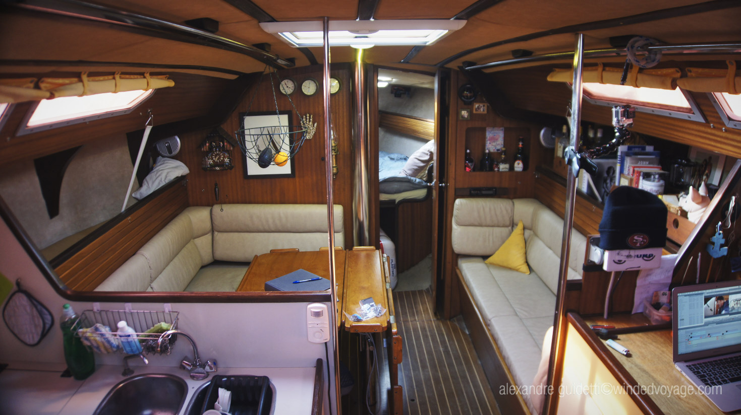 Inside Galopin from the companionway