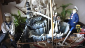 Model ships in the captain's quarters
